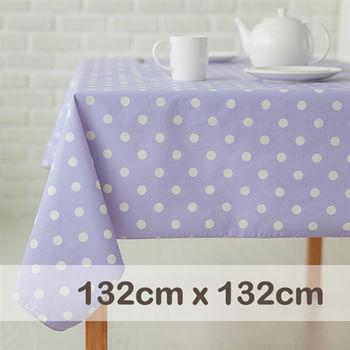 CasaBella美麗家居 防水桌巾 薰衣紫圓點 132x132cm