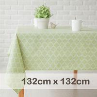 CasaBella美麗家居 防水桌巾 草綠菱弧格 132x132cm