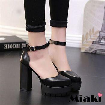 【Miaki】高跟鞋韓時尚繫帶裸釦繞踝包鞋(黑色)
