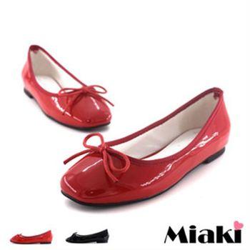 【Miaki】娃娃鞋韓優雅芭蕾圓頭平底包鞋(黑色 / 紅色)