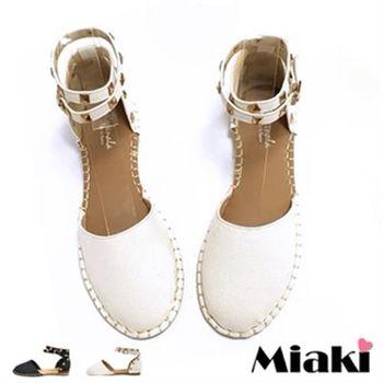 【Miaki】涼鞋韓個性鉚釘繞踝平底包鞋(黑色 / 米色)