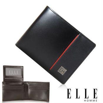 【ELLE HOMME】法式精品短夾 嚴選義大利頭層皮(黑 EL81963-02)