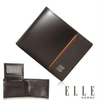 【ELLE HOMME】法式精品短夾 嚴選義大利頭層皮(咖啡 EL81963-45)