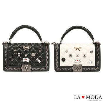 La Moda 小香風菱格紋撲克裝飾高質感頭層真皮牛皮肩背側背包 (共2色)