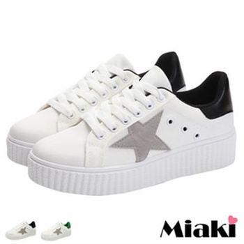 【Miaki】休閒鞋韓劇熱銷星星厚底包鞋(黑色 / 綠色)