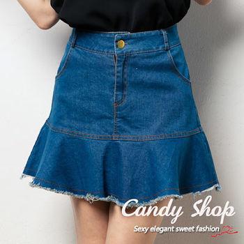 Candy小舖 新品特色款休閒風格牛仔丹寧荷葉邊設計短裙 ( S / M )