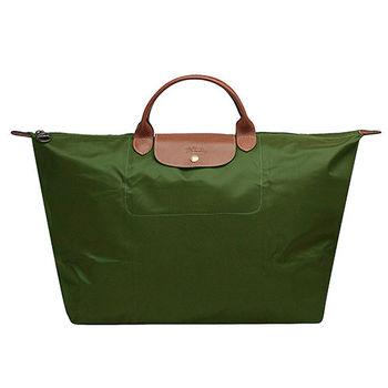 LONGCHAMP 經典LE PLIAGE系列短提把尼龍摺疊旅行袋(大-卡其綠)
