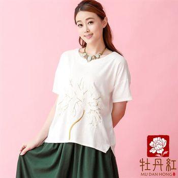 牡丹紅服飾 - 中國風古典時尚精緻刺繡上衣【白色】
