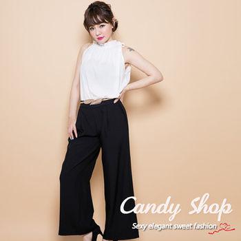 Candy 小舖 氣質高雅 削肩雪紡 連身長褲 ( 白 / 淺粉 ) 2色選