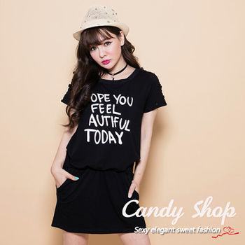 Candy小舖 英文字口袋休閒長T洋裝 ( 黑 / 白 / 灰 ) 3色選