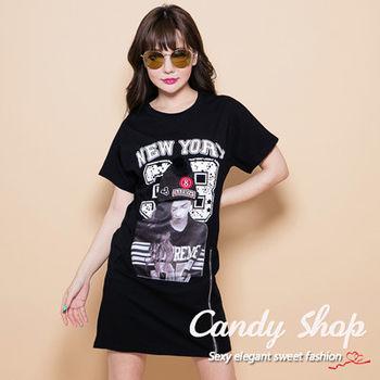 Candy 小舖 紐約人物圖樣 拉鍊長 Tee ( 黑 / 白 / 藍 ) 3色選