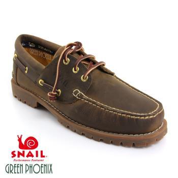 【GREEN PHOENIX】SNAIL蝸牛_雷根大底系列帆船鞋 (男鞋)-棕色、咖啡色