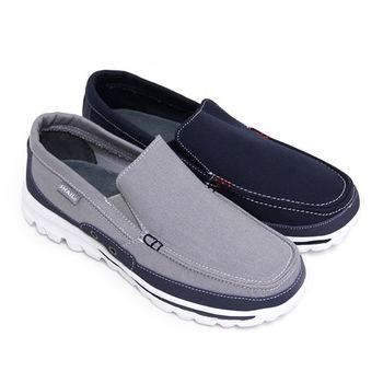 【GREEN PHOENIX】SNAIL蝸牛_率真極簡雙彩撞色套入式休閒平底健走鞋(男鞋)-藍色、灰色
