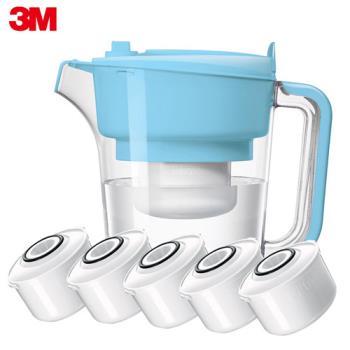 【3M】即淨長效濾水壺 WP3000(1壺+5濾心) -晴空藍