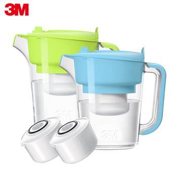 【3M】即淨長效濾水壺 WP3000(2壺+2濾心) -晴空藍+蘋果綠
