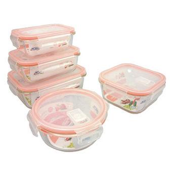 【新潮流】耐熱玻璃保鮮盒(5件式) TSL-120