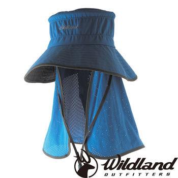 【荒野wildland】中性抗UV多功能遮陽帽 灰藍色