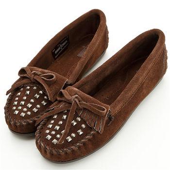 MINNETONKA 可可色麂皮加重鉚釘莫卡辛 女鞋-368