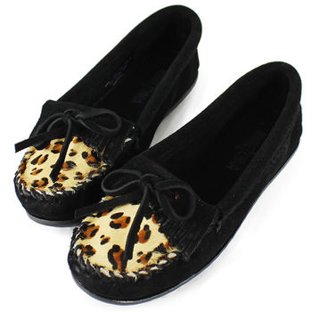 MINNETONKA 黑色麂皮豹紋莫卡辛 女鞋-349F