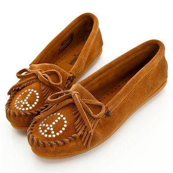 MINNETONKA 褐色麂皮和平符號莫卡辛 女鞋-333
