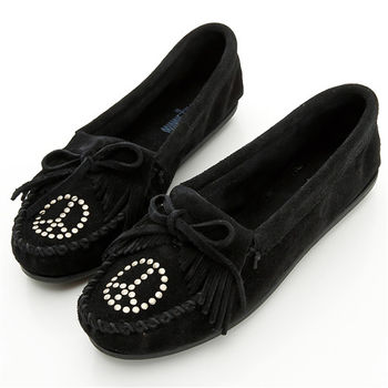 MINNETONKA 黑色麂皮和平符號莫卡辛 女鞋-330