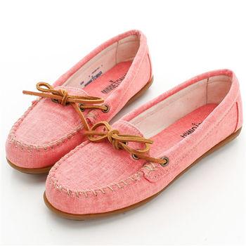 MINNETONKA帆布帆船莫卡辛 平底鞋-限量款-甜蜜粉-236