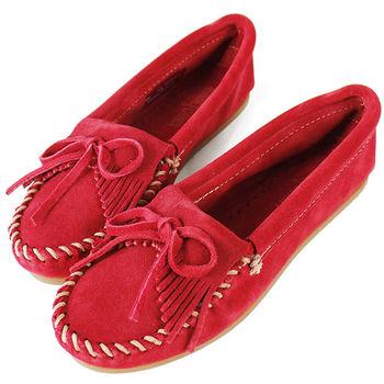 MINNETONKA 紅色麂皮素面莫卡辛 女鞋-406