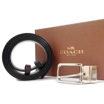 COACH 經典時尚皮革穿式皮帶-黑色(附原廠禮盒)