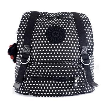KipLing 黑白點點束口翻蓋後背包