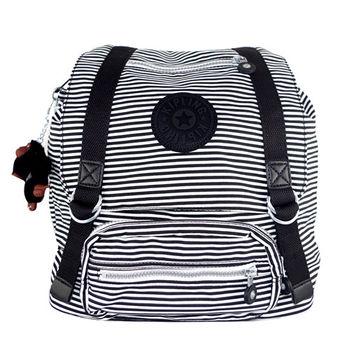 KipLing 黑白條紋束口翻蓋後背包