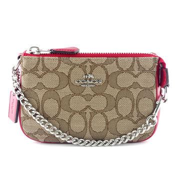 COACH 專櫃款 經典LOGO 金屬鍊帶織布晚宴包/手提包-卡其/紅
