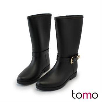 【TOMO】金屬釦帶一體成形防水雨靴(K168BE9017)