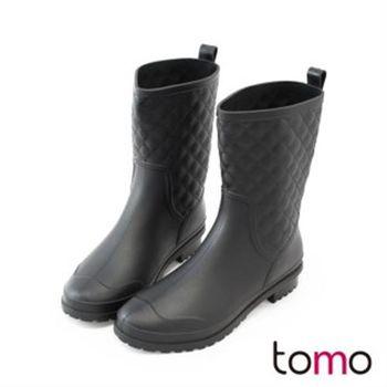 【TOMO】時尚菱格紋經典雨靴(K168AF3003)