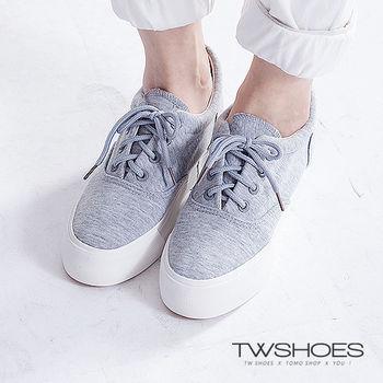【TOMO】無印風綁帶帆布厚底休閒鞋(K134I3549)