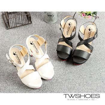 【TW Shoes】MIT一字交叉淑女高跟涼鞋(K122D702)