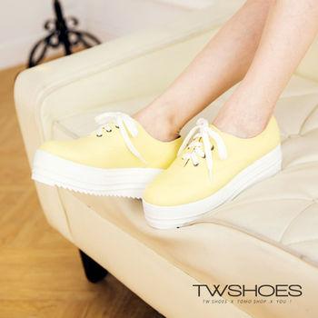 【TW Shoes】糖果色綁帶素面厚底休閒鞋(K114I2045)