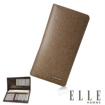 【ELLE HOMME】法式精品多層鈔票層/大容量證件層/大容量名片格長夾(咖啡 EL81957-45)