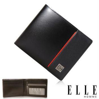【ELLE HOMME】法式精品嚴選義大利頭層皮、鈔票多層/證件多層/名片多層短夾(黑 EL81960-02)