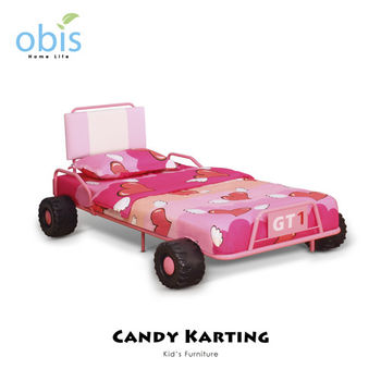 【obis】Kids Neverland 兒童單人床架-糖果卡丁車