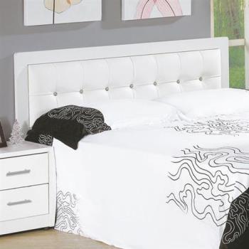 【H&D】斯5尺白色水鑽雙人床頭片(不含床底)