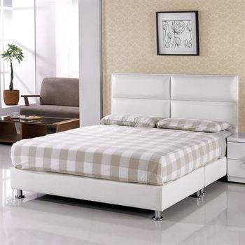 【H&D】班尼頓5尺白皮雙人床