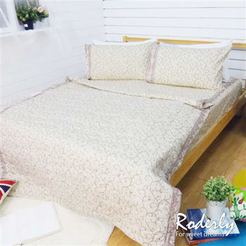 RODERLY 精梳純棉 雙人四件式涼被床包組-莫內花園-金