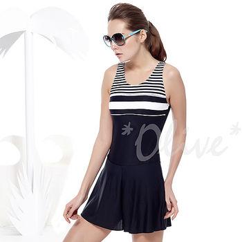 【聖手品牌】簡約條紋風格時尚連身褲裙泳裝NO.A98228(現貨+預購)