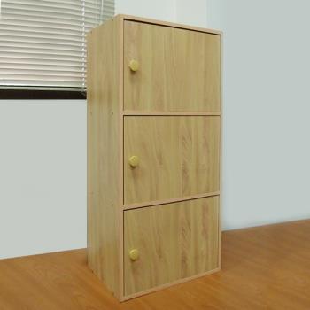 【樂活玩家】三層門櫃/木紋色 42x30x89 cm