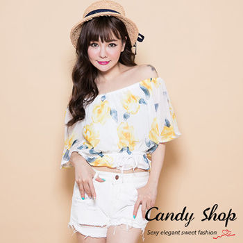 Candy 小舖 氣質大花 露肩一字領 抽繩上衣 ( 黃 / 藍 / 淺粉紅 ) 3色選
