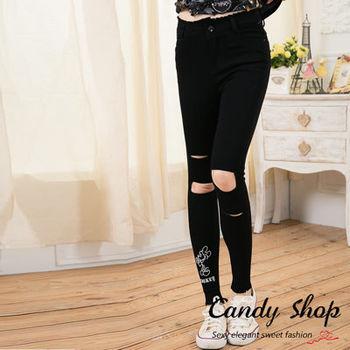 Candy 小舖 可愛米奇 彈性刷破褲 ( M / L  / XL ) 黑 / 白 2色選