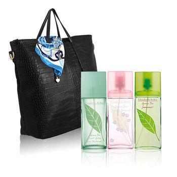 【Elizabeth Arden 雅頓】綠茶香氛時尚3件組(100m任選+托特包+絲巾隨機款)
