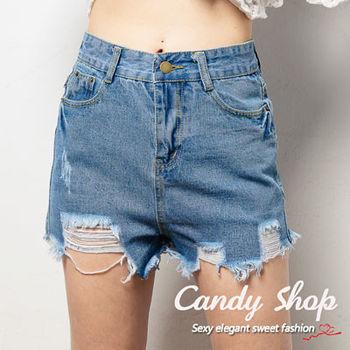 Candy 小舖 休閒風格 高腰下擺鬚鬚 刷破丹寧 牛仔短褲 ( S / M )