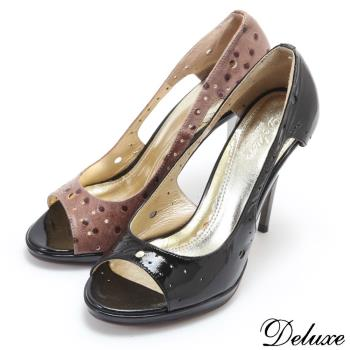 【Deluxe】真皮亮面性感洞洞魚口高跟鞋(黑★咖)