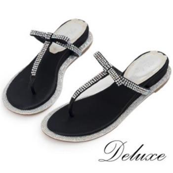 【Deluxe】真皮夾腳涼拖鞋(Bling水晶春夏注目款)